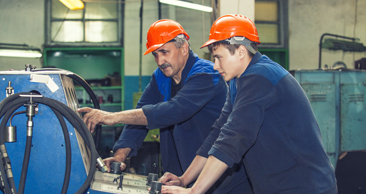 Older worker teaching younger worker as part of a Power Plant Training Program