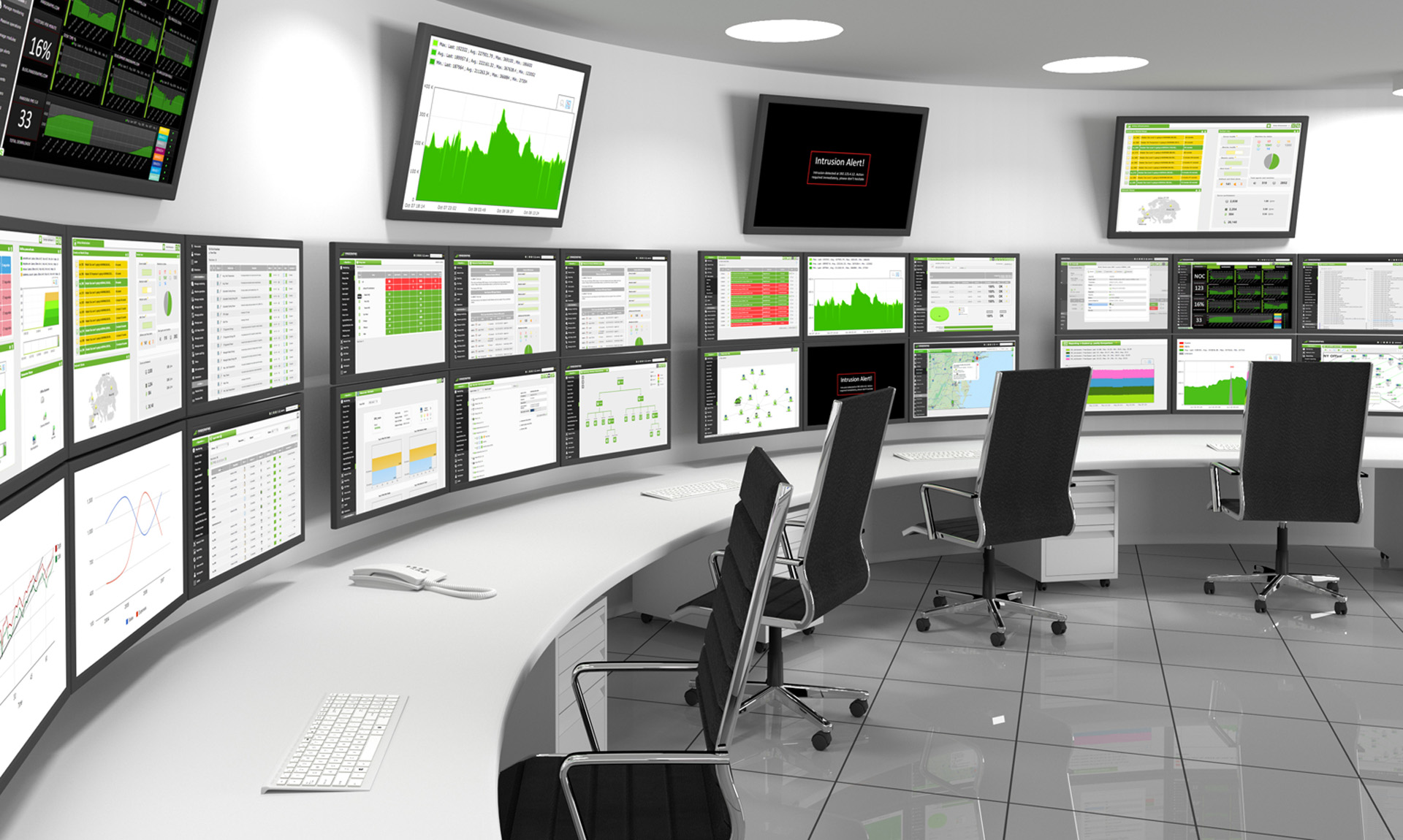 Rendered image of a power plant control room
