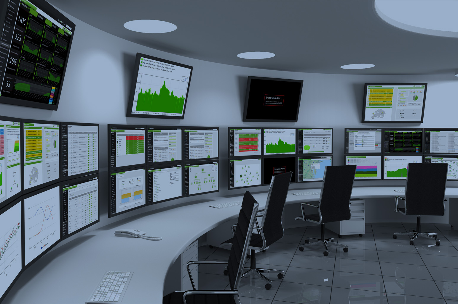 Rendered image of an Industrial Plant Control Room