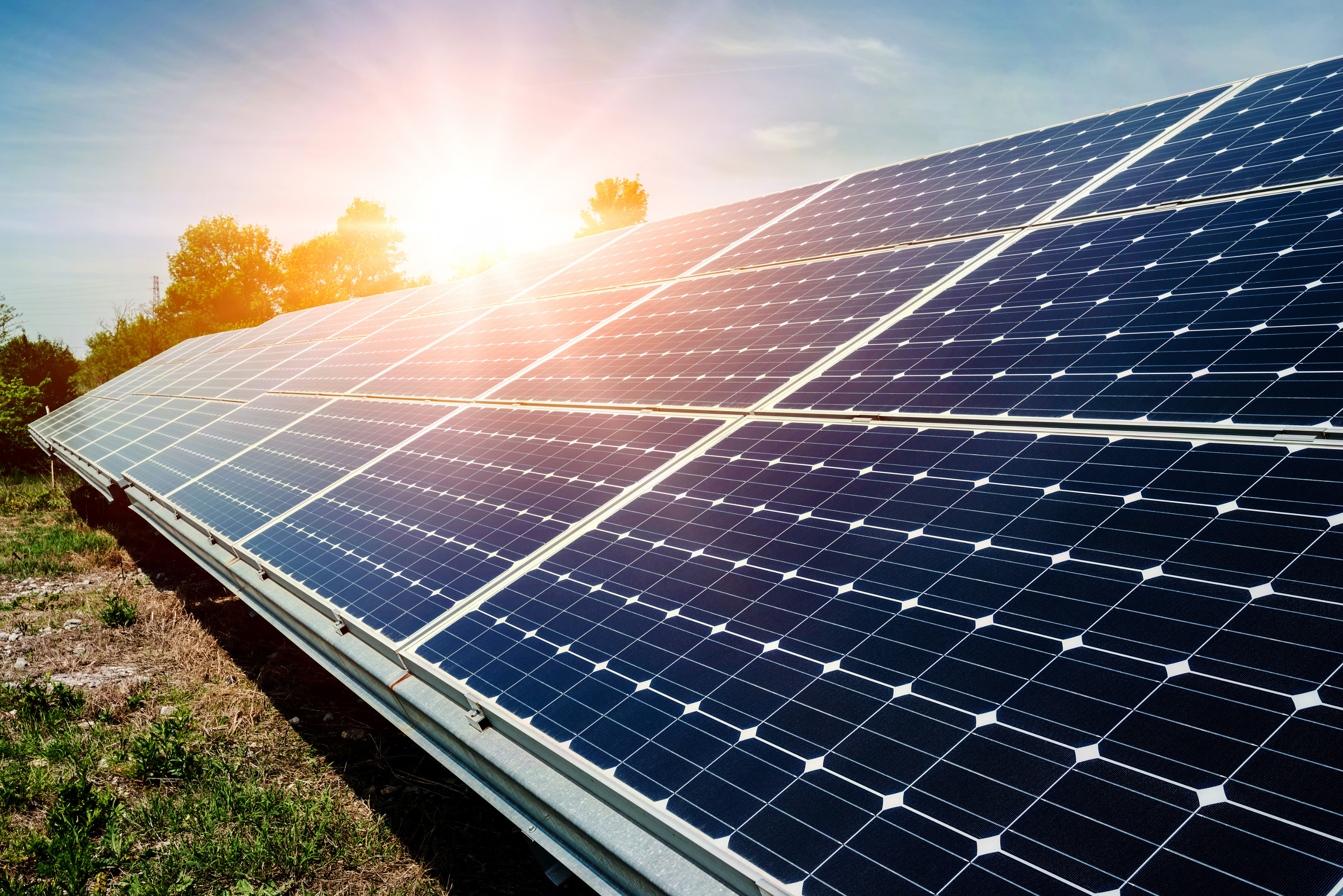 Solar Panels in Sunlight for Power Generation