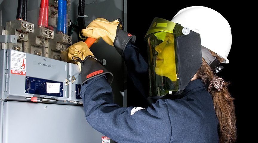 Electrician with PPE engaged in power plant training