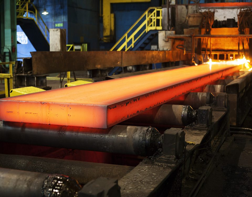 Steel being cut in a factory