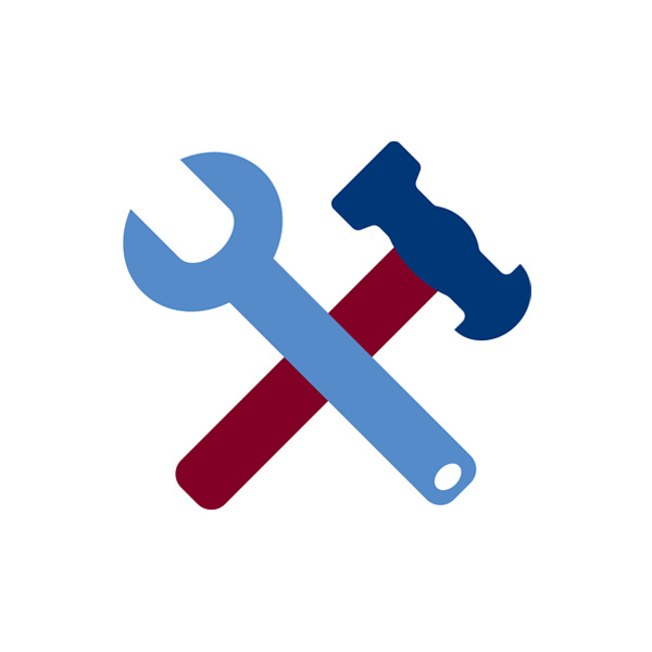 Wrench and Hammer - White Background