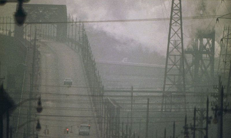 Smog on a city bridge